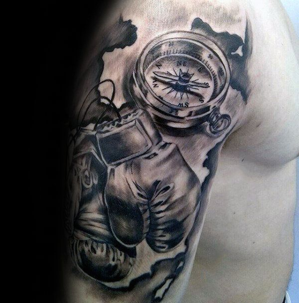 Nautical Themed Mens Shaded Half Sleeve Boxing Gloves With Compass Tattoo For Men Boxing Gloves Tattoo Boxing Tattoos Tattoos For Guys