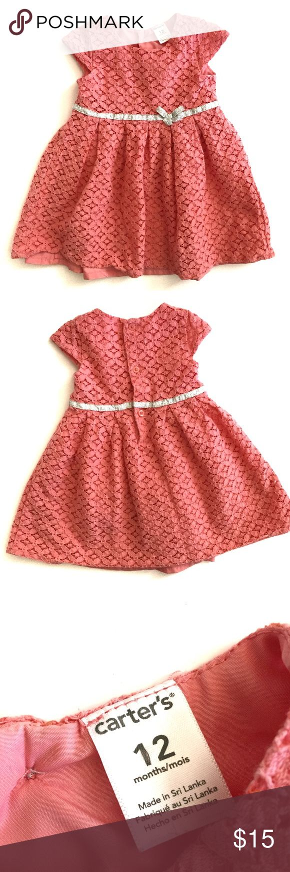 "Carter's Baby Girl's Peach Lace Dress  12 months * Perfect, gently used condition * Sleeveless * Back button placket * Taffeta lining * Sparkle belt bow  Length 16.5"" Chest (armpit to armpit) 9""  Retails $38 Carter's Dresses Casual"