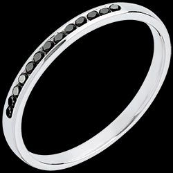 Alliance or blanc semi pavée diamants noirs 250 € (-50%)