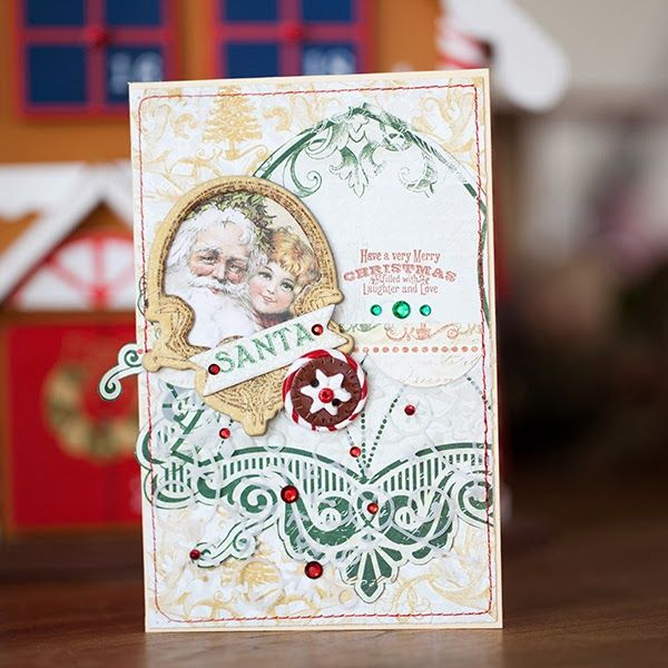 Evgenia Petzer designed this vintage Christmas card using the new Silver And Gold Collection. Love the vintage colors she chose. #BoBunny, @Evgenia Petzer