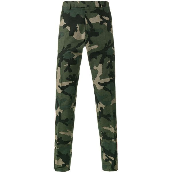 Valentino camouflage chinos ($1,295) ❤ liked on Polyvore featuring men's fashion, men's clothing, men's pants, men's casual pants, green, mens chinos pants, mens chino pants, mens camo pants, mens camo chino pants and mens green pants