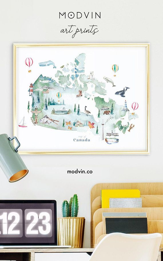 Canada Map Illustrated Art Print Watercolor Wall Decor Etsy Kids Room Art Wall Art Prints Art Prints