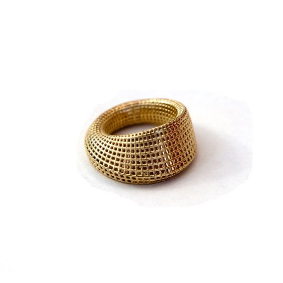 Gold Mobius Ring Net Ring 14K Gold Solid3D by HellaGanorJewelry