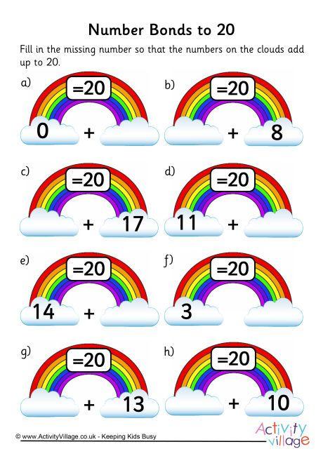Rainbow number bonds worksheet to 20                                                                                                                                                                                 More