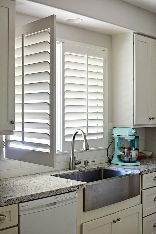 """Our customer said: """"The quality of these shutters is amazing. They look fantastic and are well made. After putting in the plantation shutters, there is so much light and brightness in the space. If it's hot I can shut them down or if I want to open it all up, it's so easy to do. I especially love the shutter that I have for my kitchen window - it works with the faucet that we purchased. It can pop out to clean the window- so cool!"""""""