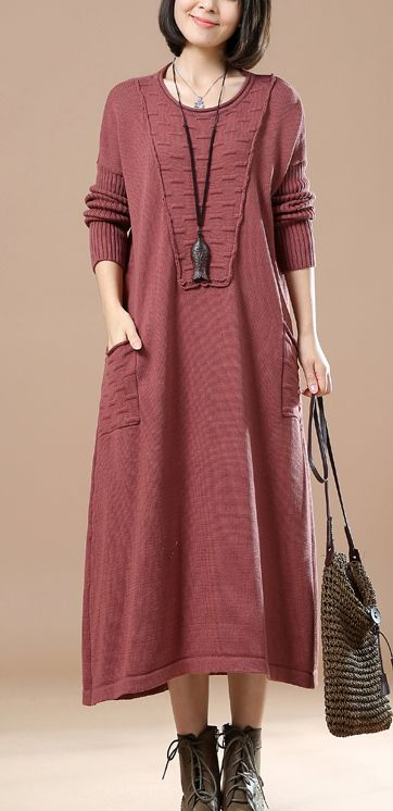 Pink knitted maxi dress plus size long sweaters knit gowns