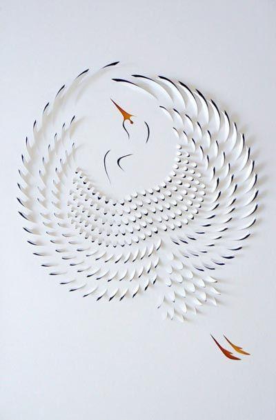 paper cuts, egret