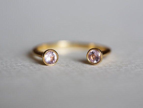 Dual Birthstone Ring, Horseshoe Ring, Sapphire Wedding Ring, Engagement Ring, 18k Yellow Gold