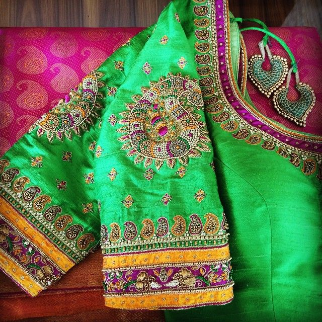 Give your old kanjeevaram sarees a new look with a new beautiful blouse!#prathikshadesignhouse #embroidery #designerblouse #designerstore