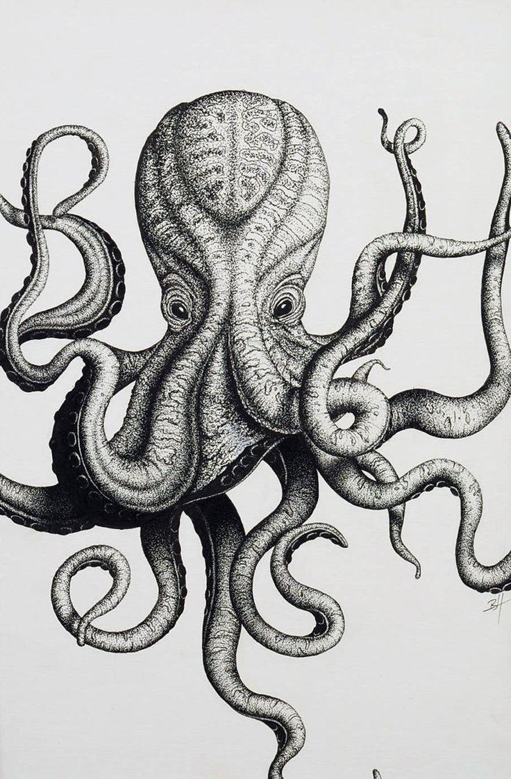 Stippled Octopus Initials By Art Brandonhubschman
