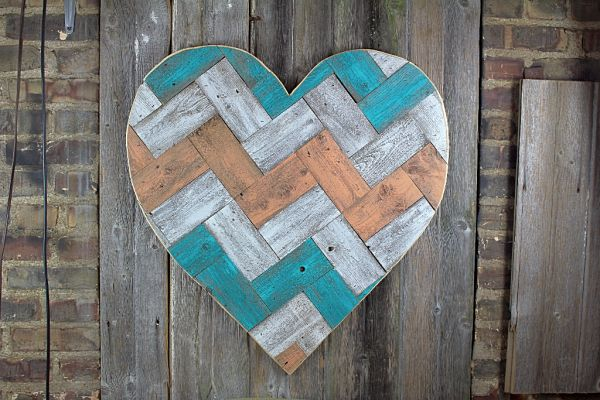 "painted chevron pallet heart 30""  Customize with your colors!"