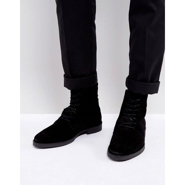 Zign Suede Lace Up Boots ($110) ❤ liked on Polyvore featuring men's fashion, men's shoes, men's boots, black, mens oxford shoes, mens black suede shoes, mens lace up shoes, mens suede lace up boots and mens suede oxford shoes