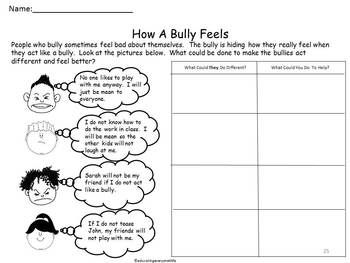 Anti bullying worksheets for middle school students