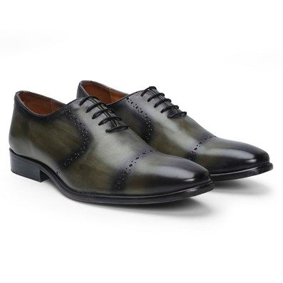 Buy Olive Leather Oxford/Brouge Lace Up Formal Shoe By Brune Online at Best Price @ #voganow