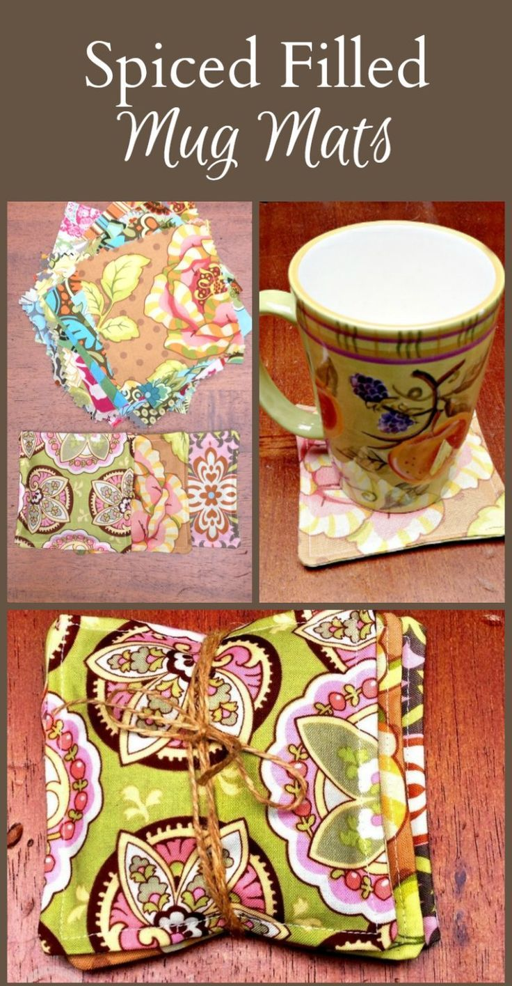 """A great idea for a teachers gift or anyone. Make a coaster or """"mug mat"""" filled with spices using beautiful quilter's squares."""