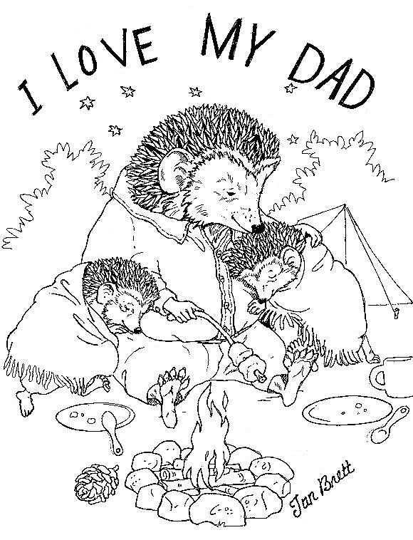 """""""I love my Dad"""" coloring pages by Jan Brett"""