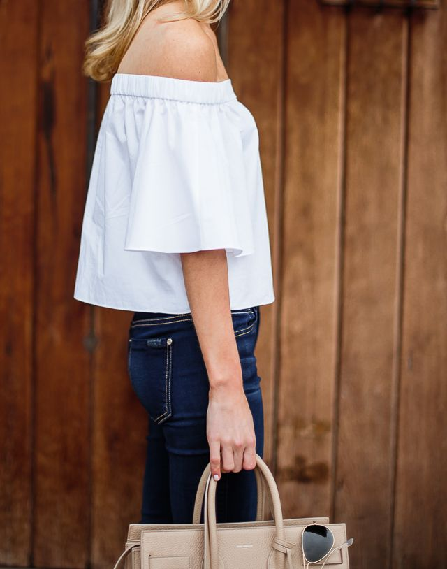 Shoulder baring blouses will continue to be a big trend next Spring. We love @tibi's off the shoudler cotton poplin top @discovercotton #sponsored #shopcotton