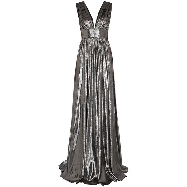 Dhela Silver plunge-front lamé gown ($1,115) ❤ liked on Polyvore featuring dresses, gowns, lame dress, low back gown, silver ball gowns, low cut back dress and silver dress