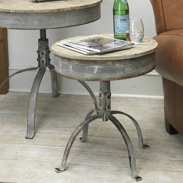 Round Metal And Fir Accent Table Accent Table Decor Table