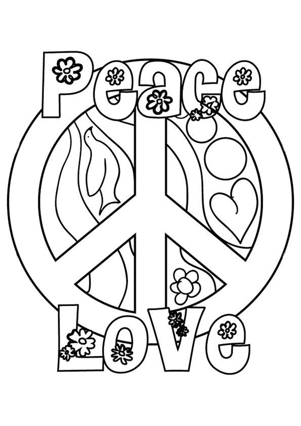 A Peace Love And Flower Coloring Love Coloring Pages Coloring Pages Flower Coloring Pages