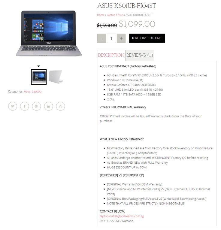 Amazing Cheap laptop + Asus Laptop Singapore + Refurbished laptop