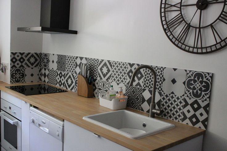 Cr dence cuisine carreaux ciment1 carrelage cuisine pinterest lieux et cuisine Carrelage ciment cuisine