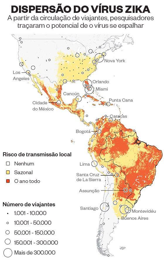 Projeção aponta que o vírus causador da microcefalia, presente em quase toda a América Latina, atingirá a costa leste e a região central dos EUA (Fonte: The Lancet)