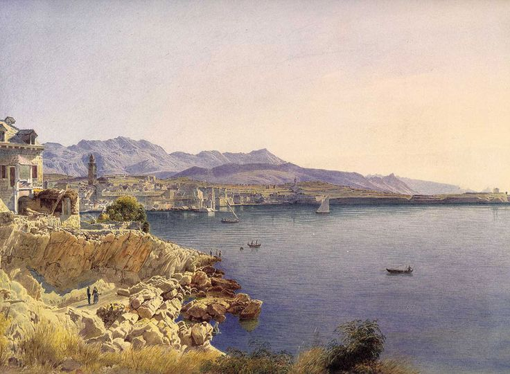 Jakob Alt. Ville de Split, 1841. Buy this painting as premium quality canvas art print from Modarty Art Gallery. #art, #canvas, #design, #painting, #print, #poster, #decoration