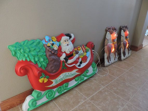 Outdoor Christmas  Decoration  Santa and Reindeer  Aluminated Sleigh and Reindeer Artform Industries. Plastic Christmas Display