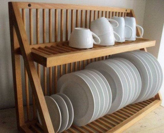 Bamboo Dish Drainer Rack Kitchen Sink Dry Plate Rack Wood Drainer Cup Holder UK