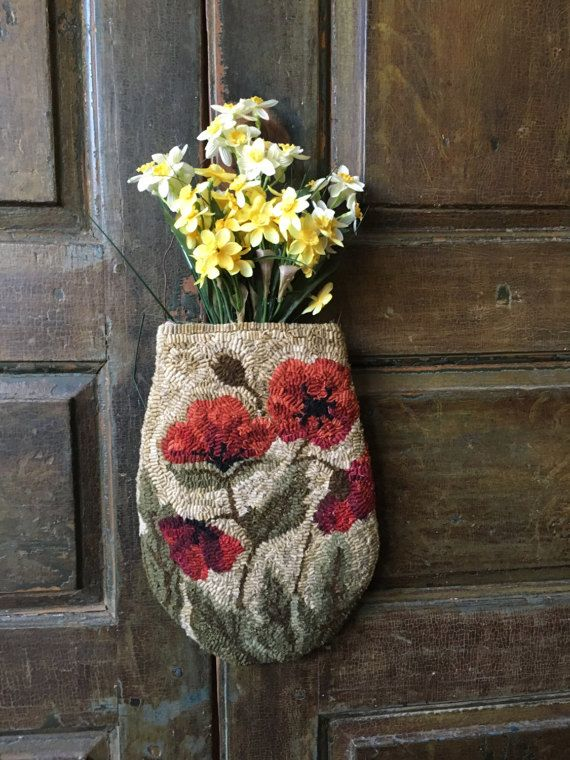Field of Poppies hanging pocket rug hooking by TwoOldCrowsNJ