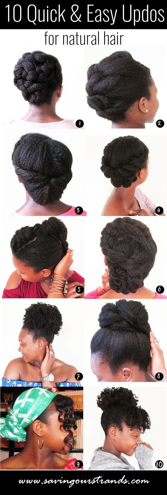 SavingOurStrands | Celebrating Our Natural Kinks Curls & Coils: 10 Quick and Easy Updos For Natural Hair