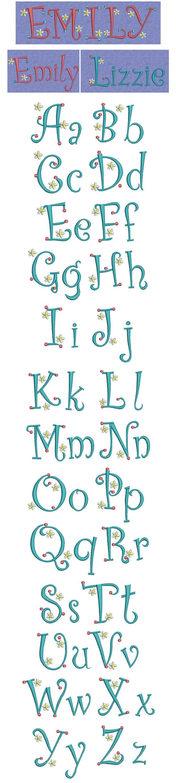 I love these!!!! Embroidery | Free Machine Embroidery designs | Dots Daisies alphabet