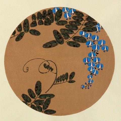 伊藤若冲『紫藤(ふじ)』-「花卉図天井画」
