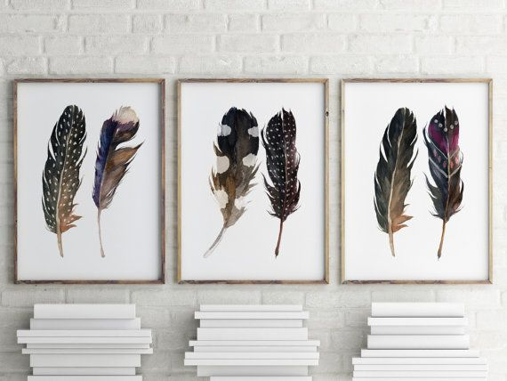 watercolor art boho print feather print printable art aztec tribal art bohemian - Home Decor Art