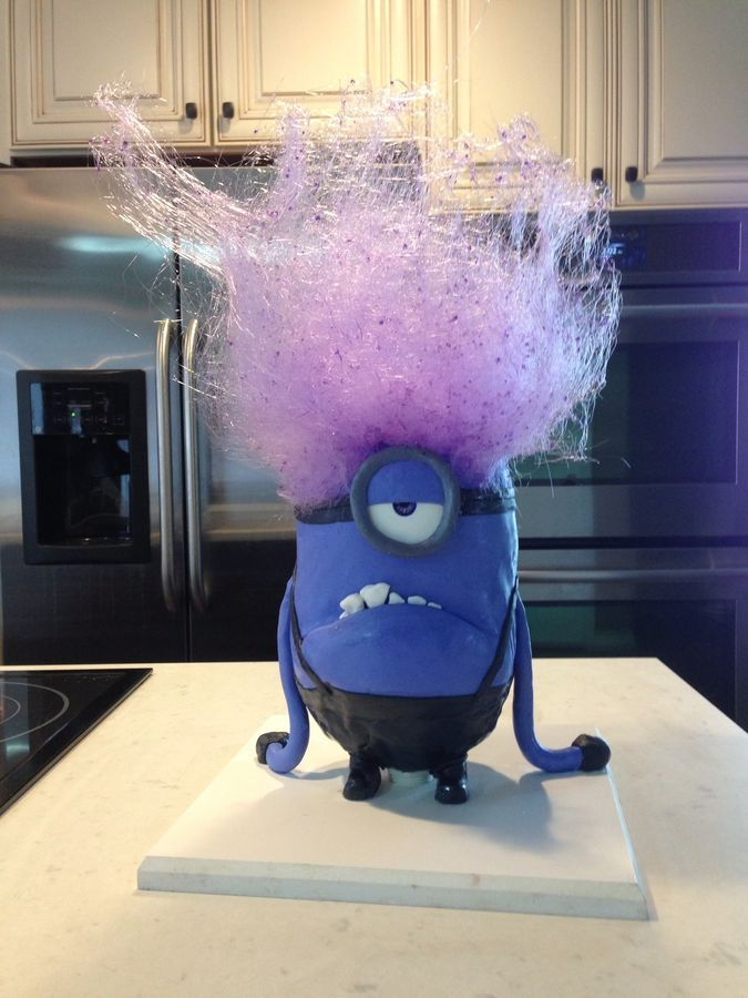 Evil Minion Cake! I love the cotton candy hair!!!