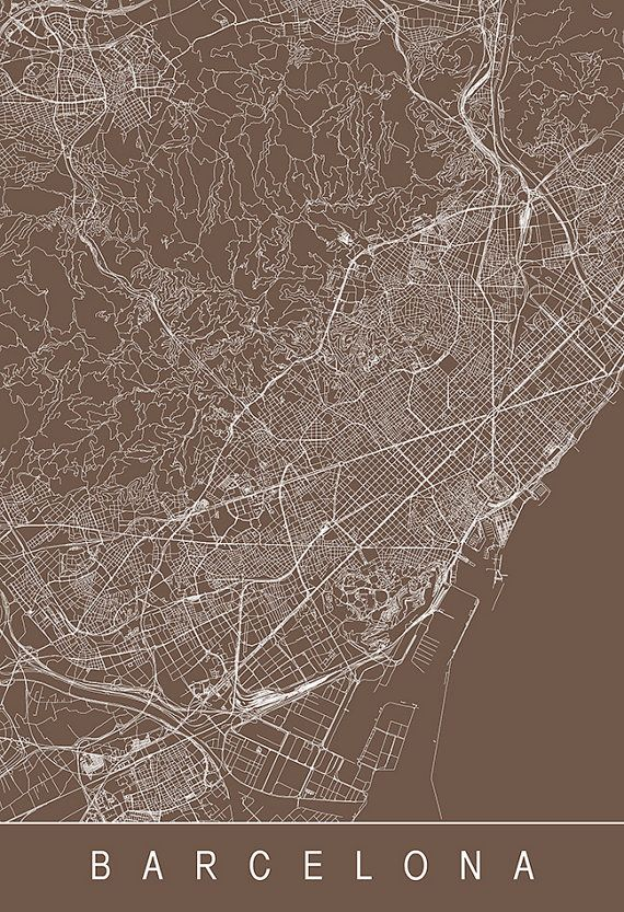 BARCELONA CITY MAP Line Art City Map Road by EncoreDesignStudios