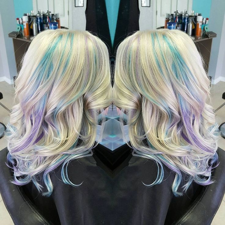 Blonde with pastel blue and lavender peekaboo highlights  See this Instagram photo by @tiffanyshairstudioo • 26 likes