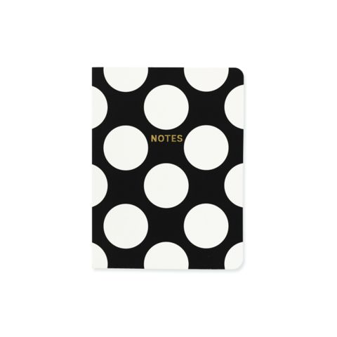 Monochrome Big Polka A6 notebook - Go Stationery