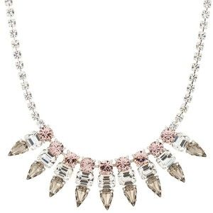 Online exclusive statement diamante pink and grey crystal peardrop spike necklace