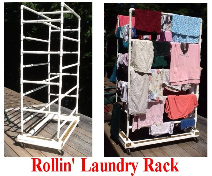 Pvc Laundry Rack On Wheels Rolls Into Laundry Area To