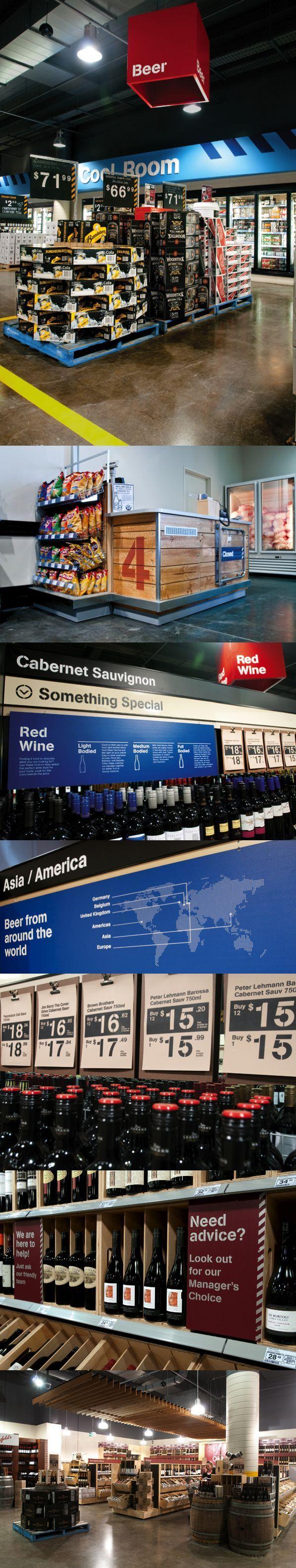 Booze signposting Supermarket design, Liquor store