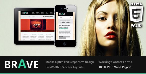 """Brave Responsive Business Template   http://themeforest.net/item/brave-responsive-business-template/2389148?ref=damiamio           """"Brave Responsive Business Template"""" is the HTML-only version of the popular Brave Responsive Business WordPress Theme   Its a fully-responsive, multi-purpose business template with loads of thoughtful features and options. The responsive layout will ensure that the theme displays in a readable way on iPhones, iPads and other smartphones like Android.   Features…"""