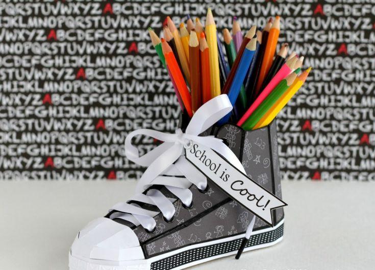 Tischdeko Idee zum Schulanfang mit neuen Schuhen