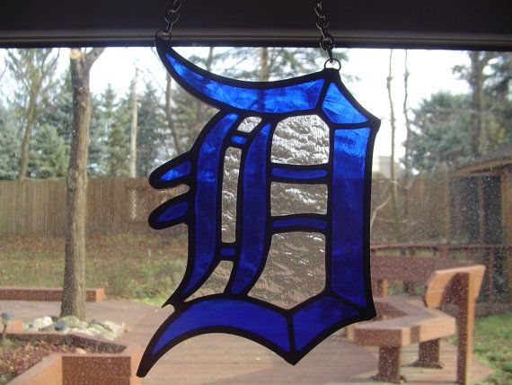Detriot Tigers old english D by EnglishRoseGlassArt on Etsy, $30.00