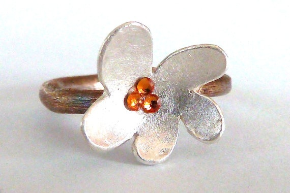 The Immortality Flower Ring  Pure Brushed Silver  by SiCreation, €189.63