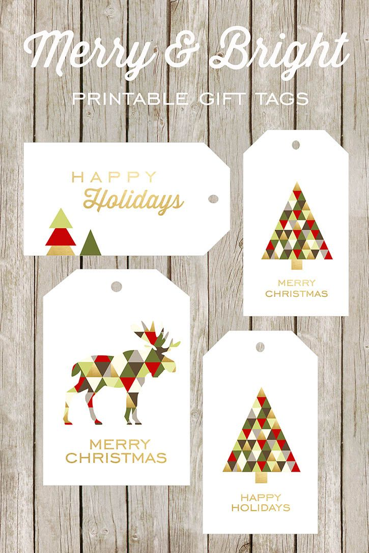Free printable Merry & Bright gift tags - love that moose!