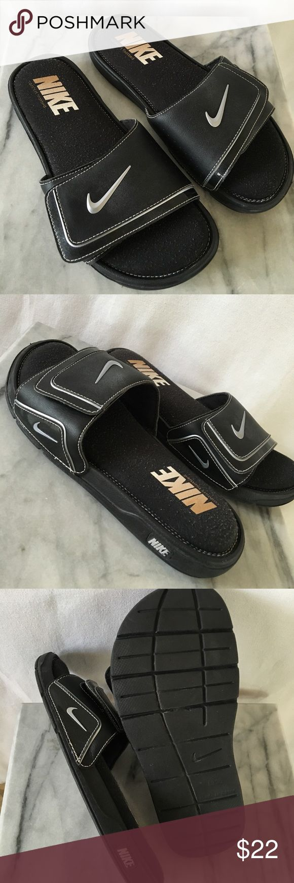 Nike Comfort Slide 2 Mens Sandals Adjustable Velcro upper. Patent trim. Sz 10m. Thx‼️🍾 Nike Shoes Sandals & Flip-Flops