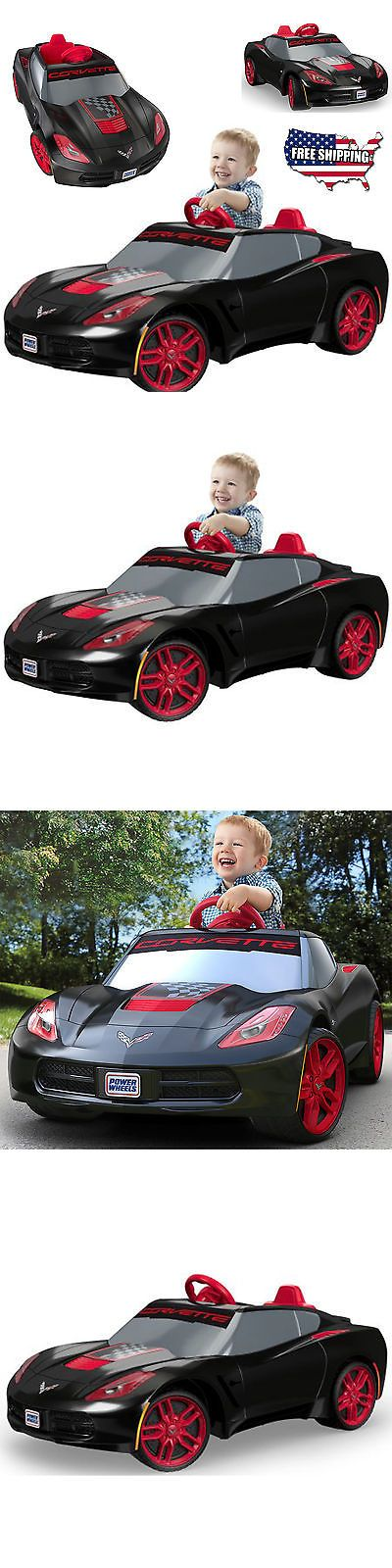 Ride On Toys and Accessories 145944: Kids Ride On Car Corvette Power Wheels Electric Black Red Rims Stingray Toy 6V -> BUY IT NOW ONLY: $126.37 on eBay!
