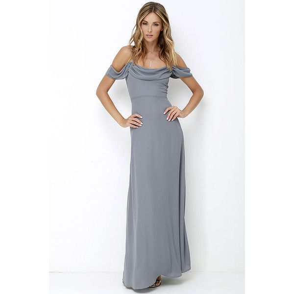 Reflective Radiance Dark Grey Maxi Dress ($72) ❤ liked on Polyvore featuring dresses, grey, grey maxi skirt, holiday dresses, off the shoulder dress, gray cocktail dress and maxi dress